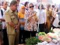 Kepala Badan Pengawas Obat dan Makanan (BPOM) Penny K Lukito (tengah), melakukan inspeksi mendadak ke Pasar Mardika, Ambon, Maluku, Senin (8/5). Sidak itu dilakukan untuk mengecek pelaksanaan program pasar aman dari bahan berbahaya di pasar-pasar tradisional. ANTARAFOTO/izaac mulyawan/nz/17.