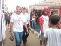 Walikota Pangkalpinang M. Irwansyah (depan) bersama Sekda Provinsi Kepulauan Babel, Yan Megawandi (belakang) setelah meninjau uji coba lintasan MXGP 2017 di Sirkuit GOR Sahabuddin Pangkalpinang, Sabtu (4/3).  (Foto Antara/ Try Mustika Hardi)