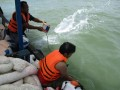PT Timah (Persero) Tbk memasangan oil boom untuk mengantisipasi munculnya dampak lingkungan pascatenggelamnya KIP 14 di Perairan Tempilang, Selasa sore (25/4) atau H+1 pascatenggelamnya kapal isap tersebut.  (Foto Humas)