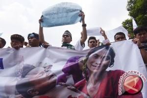Ribuan Polisi Amankan Demo di Kedubes Myanmar