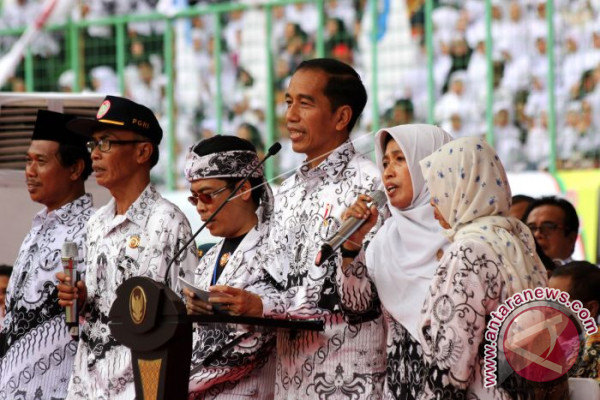 President Jokowi Attends Commemoration Of Teachers' Day
