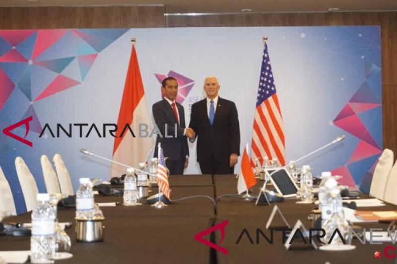 Presiden Jokowi-Wapres AS Mike Pence bahas kerja sama perdagangan