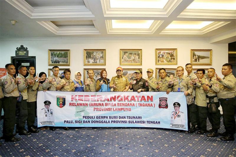 Gubernur Lampung Lepas Relawan Tagana Bantu Korban Palu-Donggala