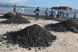 Bersihkan tumpahan batu bara di pantai