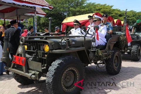 Upacara HUT RI Forkompinda Lhokseumawe kendarai Jeep Willys