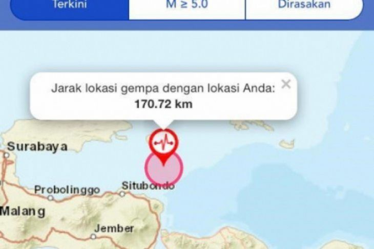Gempa 6,4 SR guncang Situbondo, Jawa Timur