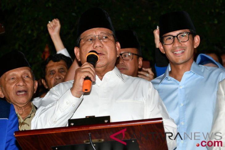 Prabowo Subianto umumkan Sandiaga Uno cawapresnya