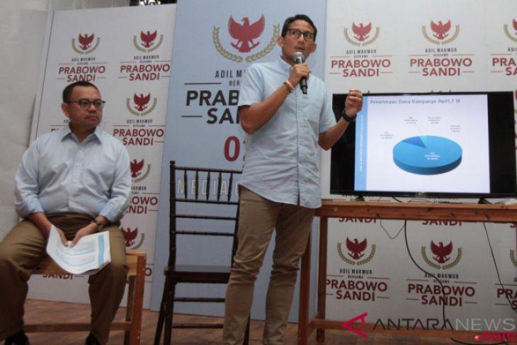 Dana kampanye pasangan Prabowo-Sandiaga Rp31,7 Miliar