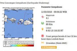 Gempa 4,1 SR guncang Bali dan Lombok