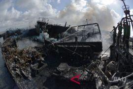 Polresta-Labfor Denpasar olah TKP kebakaran kapal Benoa