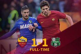 Roma ditahan imbang 1-1 oleh tamunya Sassuolo