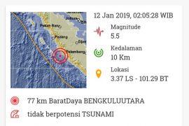 Bengkulu diguncang gempa 5,5 SR Sabtu dini hari