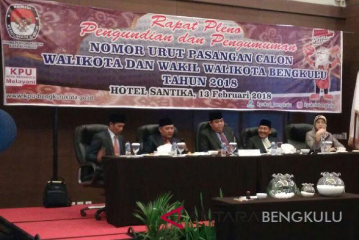 KPU Bengkulu tetapkan nomor urut pasangan calon