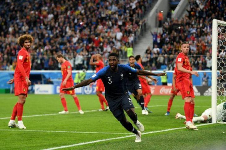Tandukan Umtiti bawa Prancis ke final Piala Dunia