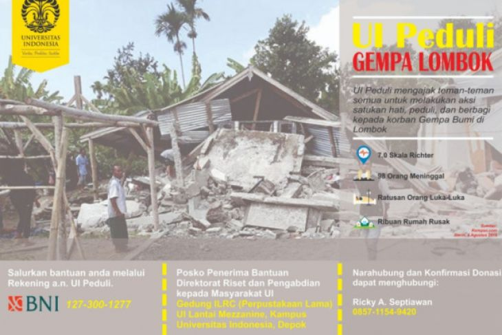 UI send medical team to quake-hit Lombok