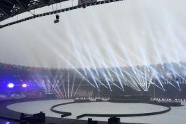 Hujan Deras Guyur GBK Jelang Penutupan Asian Games 2018