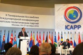 Theo Sambuaga Berpidato Pada Sidang Umum Konferensi Internasional Partai Politik se-Asia di Moscow