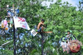 Seratusan pemanjat berebut sepeda di puncak pinang