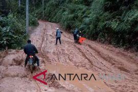Kerusakan jalan Panca Karya-Meribung parah