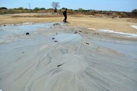 Semburan lumpur dii Buncitan SIdoarjo