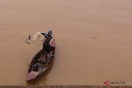 Warga menangkap ikan di Sungai Batanghari