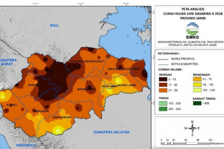 Staklim: hari tanpa hujan Jambi kategori pendek
