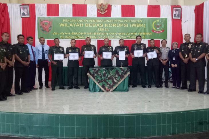 Danrem 042/Gapu canangkan pembangunan zona integritas wilayah bebas korupsi