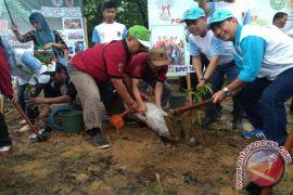 500 Bibit Pohon di Tanam Di Hutan Kota Rantau