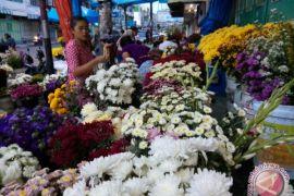 Penjual bunga panen