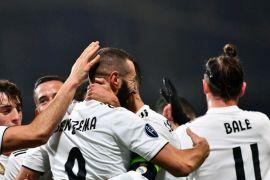 Dua gol Benzema bawa Madrid ke puncak klasemen