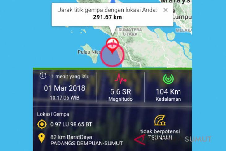 Gempa dirasakan warga Padangsidempuan Sumut