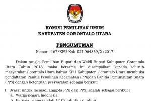 Pengumuman Perekrutan PPK/PPS KPU Gorontalo Utara