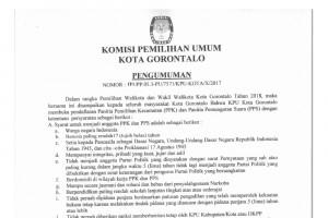 Pengumuman Perekrutan PPK/PPS KPU Kota Gorontalo