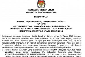 Pengumuman Syarat Bakal Calon Perseorangan Pilkada Gorontalo Utara 2018
