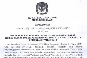 Pengumuman Syarat Bakal Calon Perseorangan Pilkada Kota Gorontalo 2018