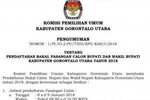 Pengumuman Pendaftaran Calon Bupati/Wakil Bupati Gorontalo Utara