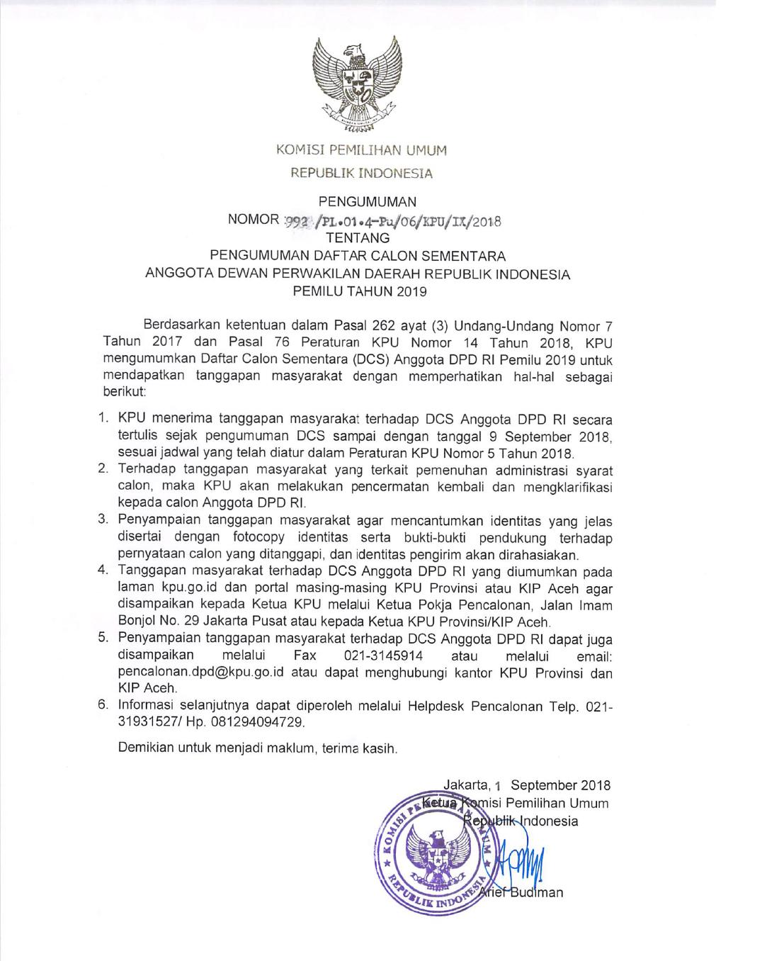 Pengumuman DCS DPD RI Pemilu 2019