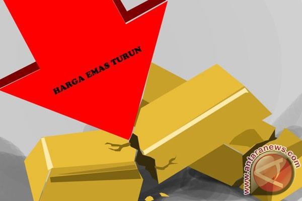 Emas turun setelah saham dan dolar AS menguat