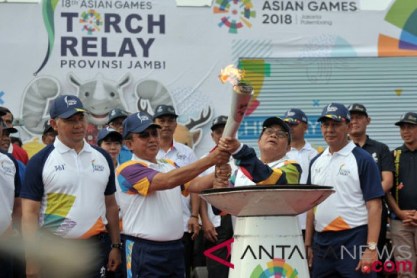 Kirab Obor Asian Games 2018 di Jambi