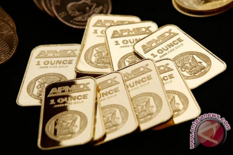 Emas naik tipis di tengah penguatan pasar saham