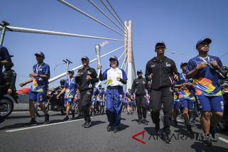 Bupati Cianjur melepas Kirab Obor Asian Games