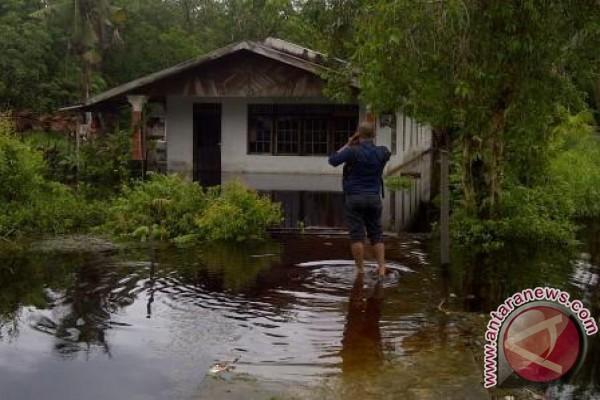 Luapan air sungai melaya melanda desa mega timur, kecamatan sungai