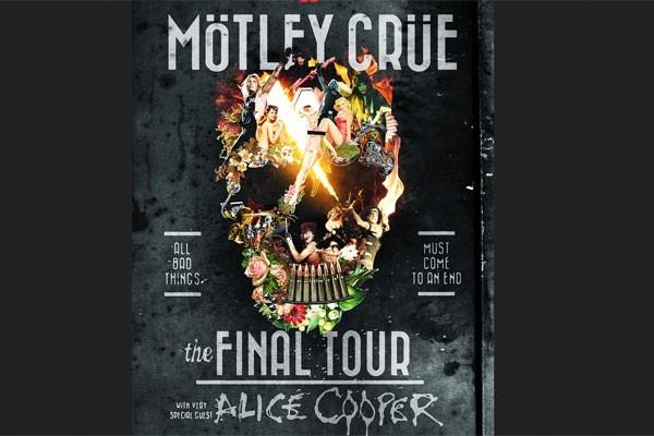 satu gambar poster tur perpisahan Motley Crue, band rock Amerika yang