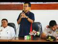 Kepala KPw BI Kalbar, Dwi Suslamano sedang memberikan sambutan dalam sosialisasi uang NKRI tahun emisi 2016 di Entikong, Sanggu, Rabu (11/1)