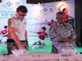 Banjarmasin, 6/6 - President Director Danone AQUA, Charlie Cappetti (kiri) bersama Ketua Umum PSSI, Djohar Arifin Husin (kanan) saat melakukan Group Drawing (pengundian grup) Final Nasional AQUADNC 2014 di Grand Ballroom, Hotel Kempinski Jakarta, Kamis (5/6). Pengundian grup AQUADNC 2014 diikuti 16 tim dari 32 propinsi  dari Aceh sampai Papua hasilnya akan saling berhadapan dalam babak final AQUADNC di Jakarta pada 7 – 8 Juni 2014 di Stadion Soemantri Brodjonegoro, Jakarta.(Foto Antara/Danone/Asmuni K)