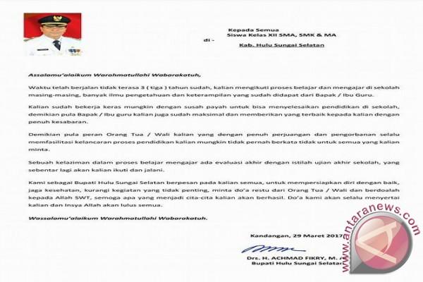 Surat Bupati HSS Untuk Peserta UN