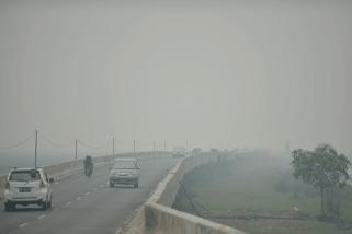 Penerbangan Syamsudin Noor terganggu kabut asap