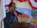 Sekda Kabupaten Nunukan, Drs Tommy Harun MSi, saat memberikan sambutan usai pelantikan pengurus DPD KNPI Kabupaten Nunukan periode 2012-2015. (M Rusman/ANTARA)