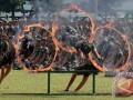 Prajurit TNI AD melompat di lingkaran berapi ketika atraksi bela diri Yongmoodo, di Makodam I/Bukit Barisan, Medan, Sumatera Utara, Kamis (9/3/2017). Bela diri yang memadukan pukulan, tendangan, bantingan dan kuncian tersebut merupakan bela diri wajib bagi prajurit TNI AD. (ANTARA FOTO/Irsan Mulyadi)