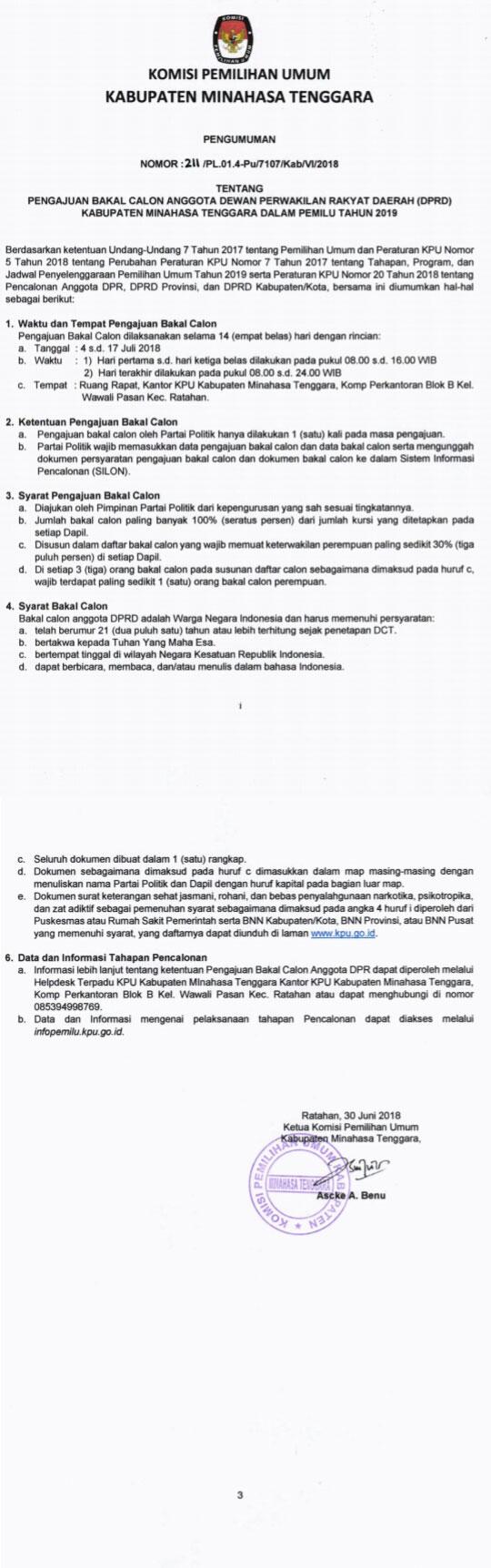 Pengumuman Komisi Pemilihan Umum Kabupaten Minahasa Tenggara